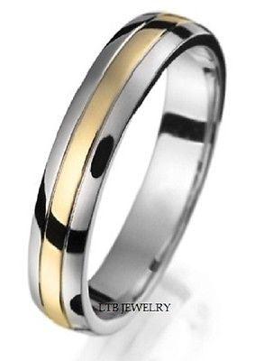 10K TWO TONE GOLD MENS  WEDDING BAND RING  4MM