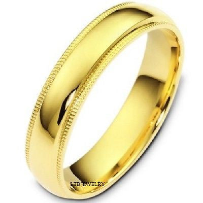 14K YELLOW GOLD MENS WEDDING BAND RING MILGRAIN 5MM