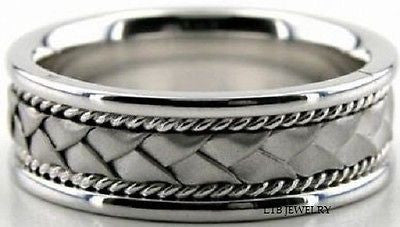14K WHITE GOLD MENS WEDDING BAND RING 7MM