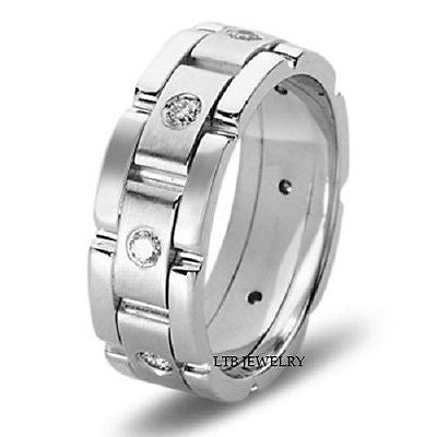 MENS 14K WHITE GOLD  DIAMOND WEDDING BAND RING  8MM