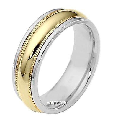 14K TWO TONE WHITE AND YELLOW GOLD MENS BAND RING  7MM