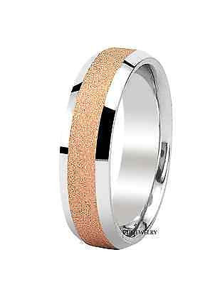 MENS 18K TWO TONE GOLD WEDDING BAND RING  6MM