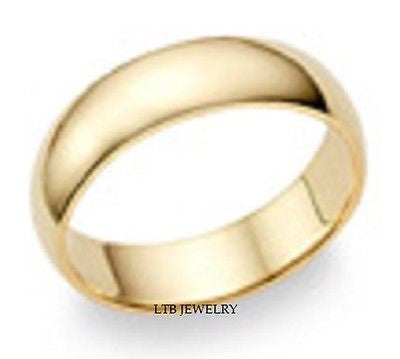 14K YELLOW GOLD MENS WEDDING BAND RING  6MM