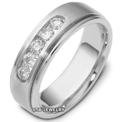 14K WHITE GOLD MENS DIAMOND WEDDING BAND RING  7MM