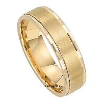 MENS 14K YELLOW GOLD WEDDING BAND RING  6MM