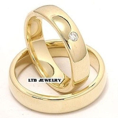 18K YELLOW GOLD MATCHING HIS & HERS WEDDING BANDS DIAMONDS RINGS  SET 5MM $ 5MM