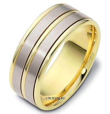 MENS 14K TWO TONE GOLD WEDDING BAND RING  8MM