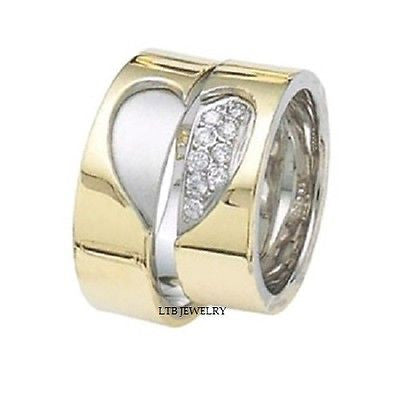 MATCHING 18K TWO TONE GOLD HIS&HERS WEDDING BANDS RING MENS WOMENS SETS DIAMONDS