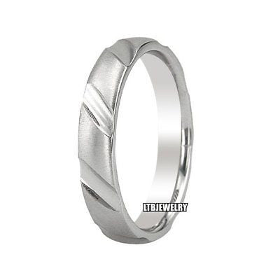 MENS 10K WHITE GOLD WEDDING BAND RING 4MM