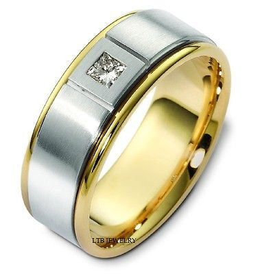 14K TWO TONE GOLD MENS DIAMOND WEDDING BAND RING  7MM