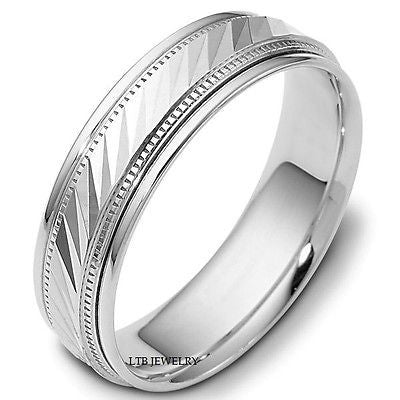 MENS 18K WHITE GOLD WEDDING BAND RING 6.5MM