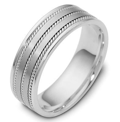 10K WHITE GOLD MENS WEDDING BAND RING  8MM