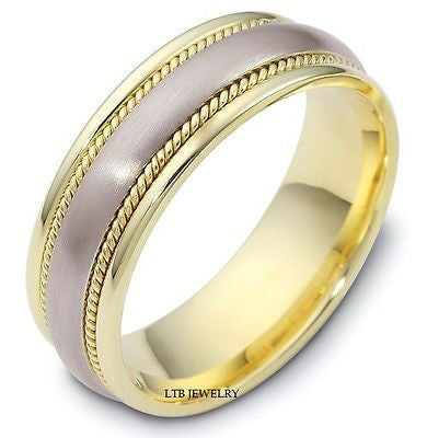 18K TWO TONE GOLD RING WEDDING BAND 8MM