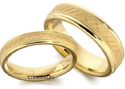 14K YELLOW GOLD MATCHING WEDDING BANDS SET HIS HERS