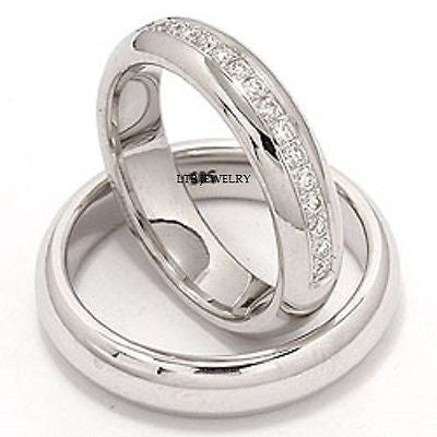 14K WHITE  GOLD MATCHING HIS & HERS WEDDING BANDS DIAMOND RING  SET