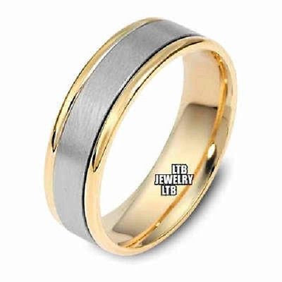 TWO TONE GOLD 18K MENS WEDDING BAND RING 6MM