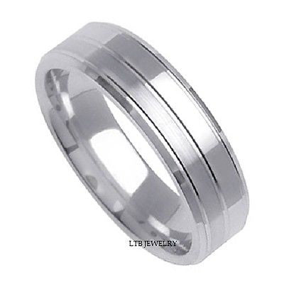 14K WHITE GOLD MENS WEDDING BAND RING