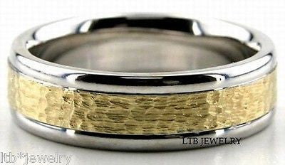 18K MENS  TWO TONE GOLD BAND RING HAMMERED FLAT 6MM