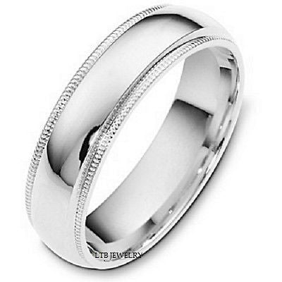950 PLATINUM MENS WEDDING BAND RING MILGRAIN 6MM