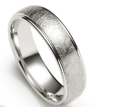 14K WHITE GOLD WEDDING BAND MENS RING 6MM