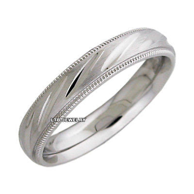 10K WHITE GOLD MENS WEDDING BAND RING 4MM