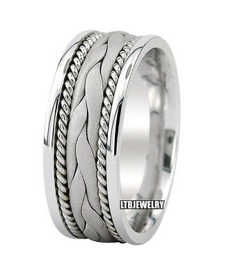 14K WHITE GOLD MENS  BRAIDED WEDDING BAND RING 8MM