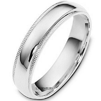 14K WHITE GOLD MENS WEDDING BAND RING MILGRAIN 5MM