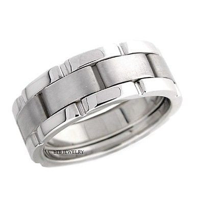 MENS 18K WHITE GOLD WEDDING BAND RING 8MM