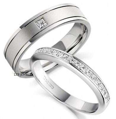 14K WHITE GOLD HIS & HERS MATCHING WEDDING BANDS SET MENS WOMENS RINGS