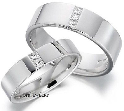 18K WHITE GOLD MATCHING HIS & HERS WEDDING BANDS DIAMONDS RINGS MENS WOMENS SET