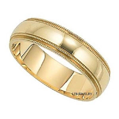MENS 18K YELLOW GOLD WEDDING BAND RING  6MM
