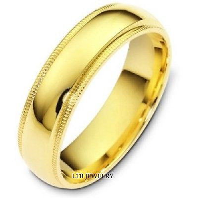 14K YELLOW GOLD MENS WEDDING BAND RING MILGRAIN 6MM