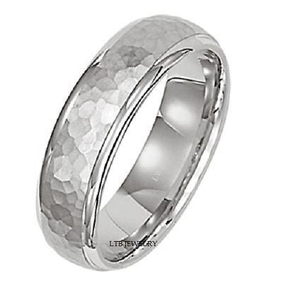 950 PLATINUM MENS WEDDING BAND RING HAMMERED 5MM