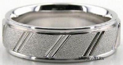 10K WHITE GOLD MENS WEDDING BAND RING 6MM