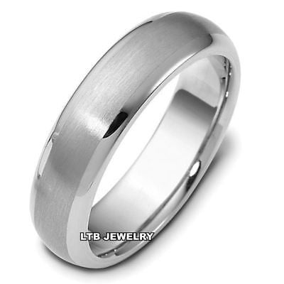 18K WHITE GOLD MENS MANS WEDDING BAND RING  6MM