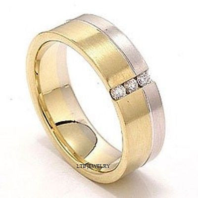MENS 14K TWO TONE GOLD  DIAMOND WEDDING BAND RING 6MM