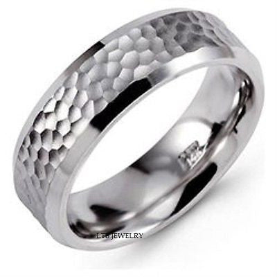 950 PLATINUM MENS WEDDING BAND RING HAMMERED 6MM