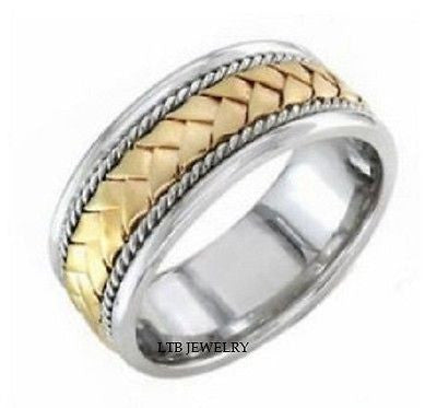 14K TWO TONE WHITE AND YELLOW GOLD MENS BAND RING