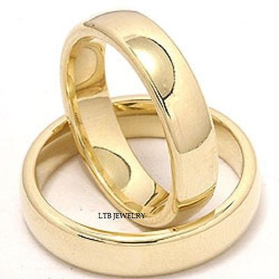 MENS WOMENS SET 14K YELLOW GOLD MATCHING HIS & HERS WEDDING BANDS RINGS  SET