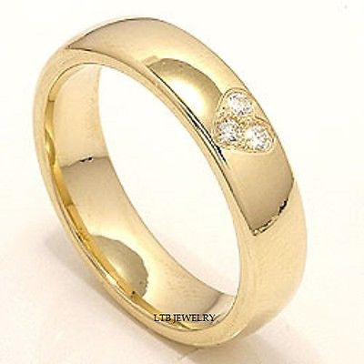MENS 14K YELLOW GOLD  DIAMOND WEDDING BAND RING  5MM