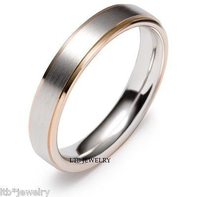 14K TWO TONE GOLD MENS WEDDING BAND RING  5MM