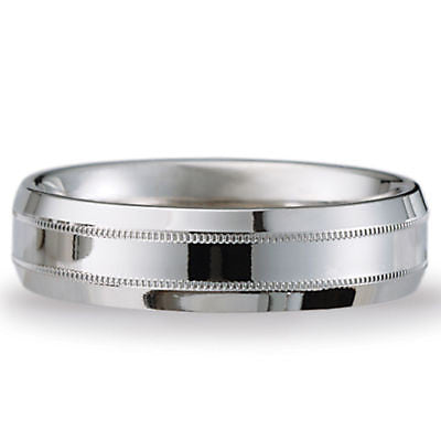 18K WHITE GOLD MENS WEDDING BAND RING 5.5MM