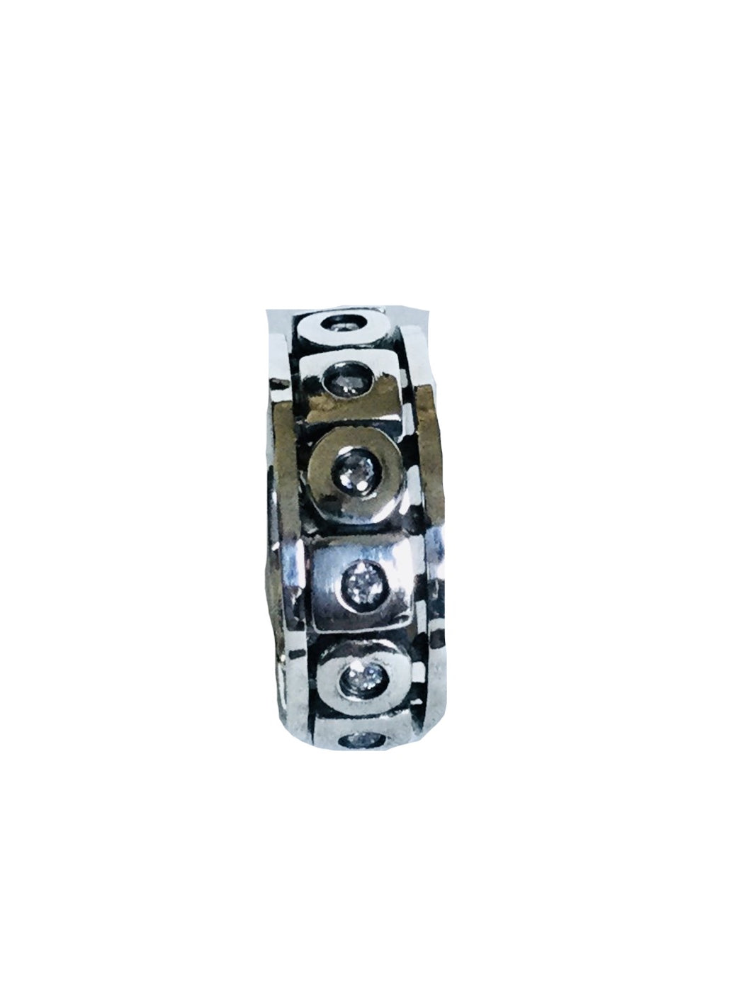 Sterling silver Round  cubic zirconia studded Spinner Ring