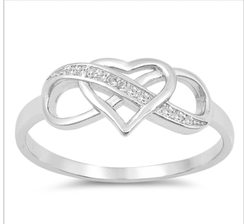 Cz Infinity/Heart Silver Ring