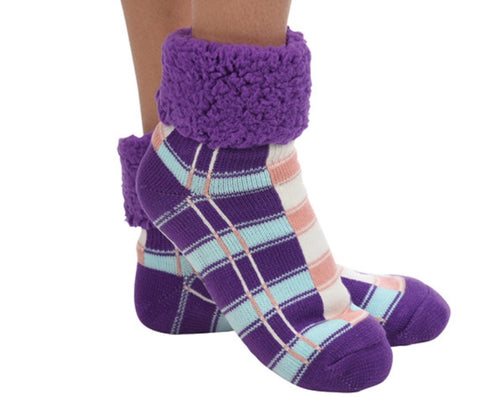 Women's Plaid Cuffed Sherpa Linen Purple Sock/Slipper