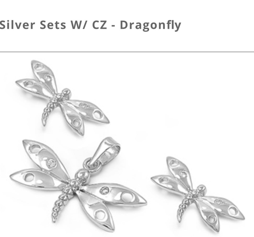Channel Cz set Dragonfly Earring and Pendant