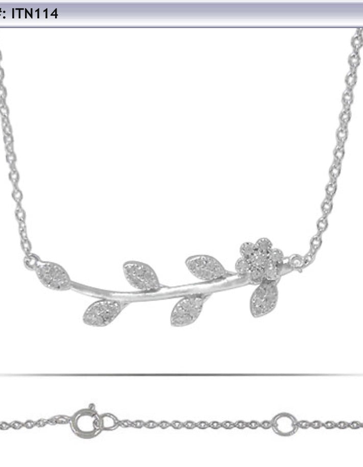 Branch/Flower Necklace and CZ Stones