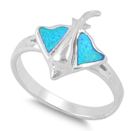 Stingray Blue Opal Ring