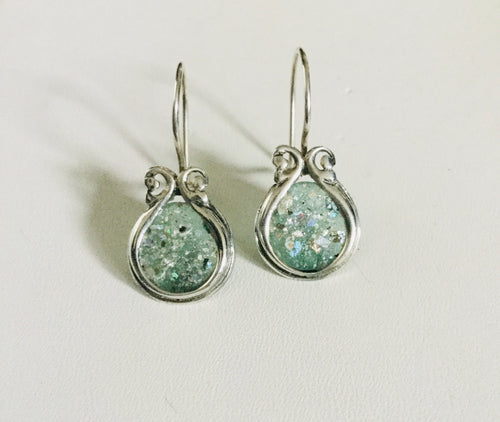 Round face Roman Glass Sterling Silver Earrings