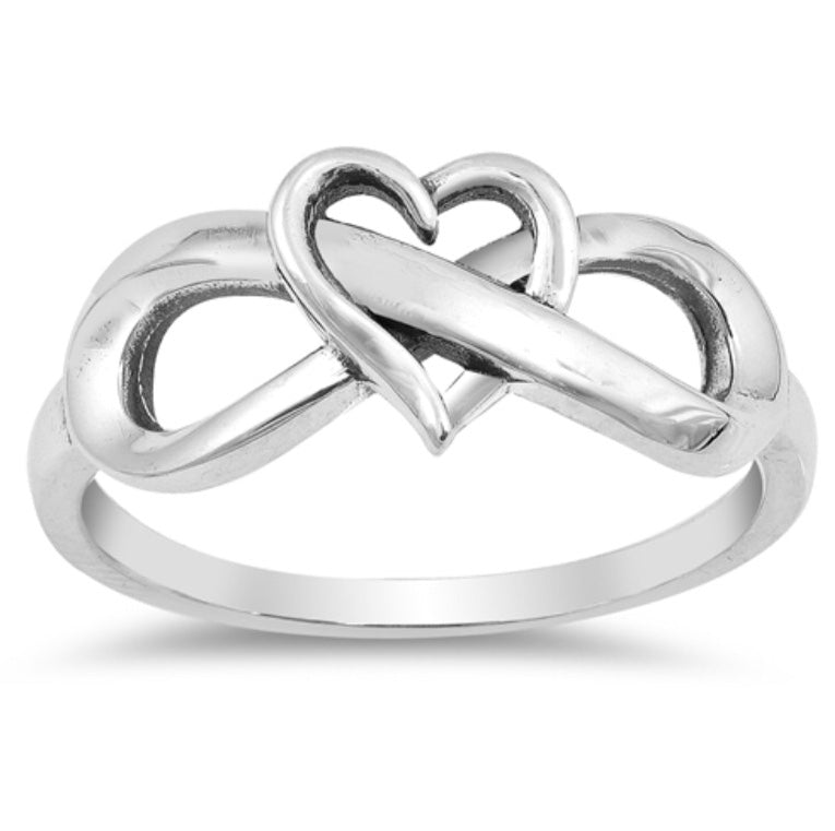 Single Heart wrapped Infinity Silver Ring